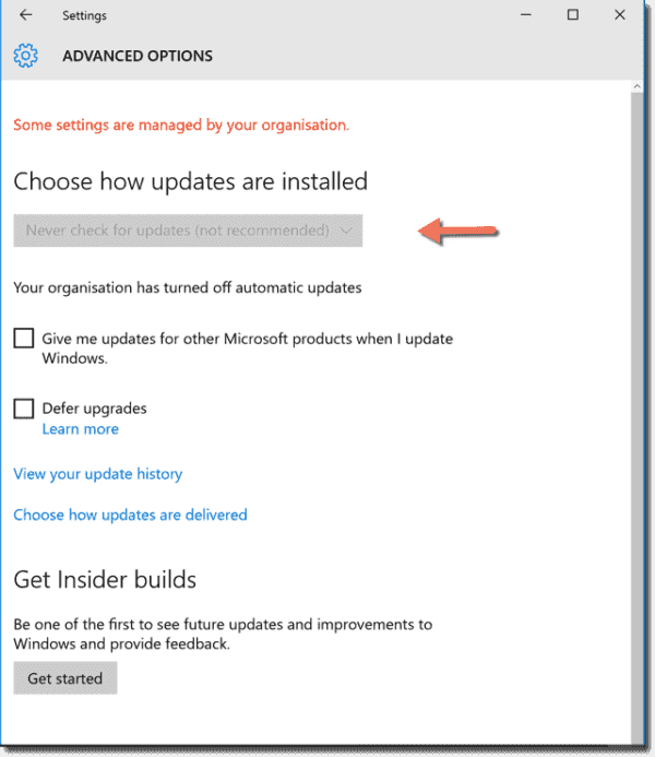 The Never check for automatic updates settings in Windows 10