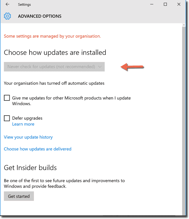 disable windows update service registry