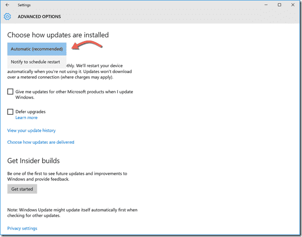 "Windows Update only offers the ""Automatic updates"" and ""Notify to schedule restart"" options"