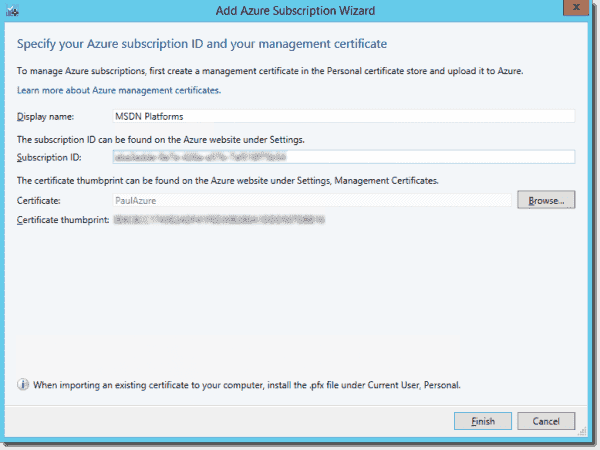 Adding an Azure subscription