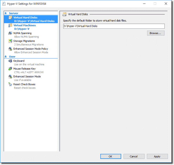 Changing the default storage location for Virtual Hard Disks and Virtual Machines