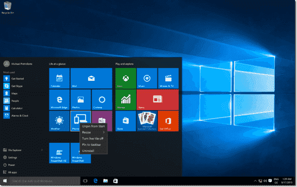 Configurating the Start layout in Windows 10