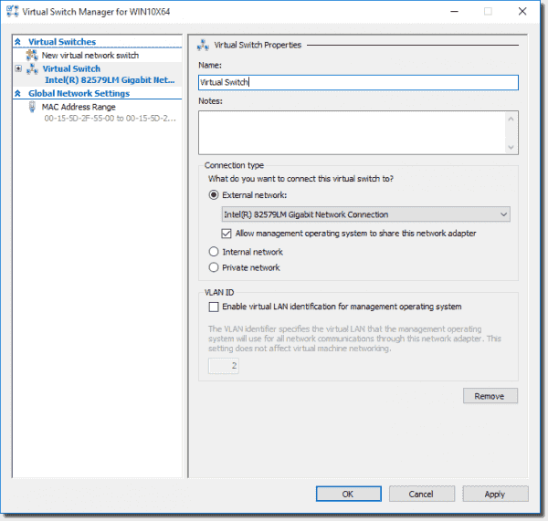 Create a new External virtual switch in Hyper-V on Windows 10
