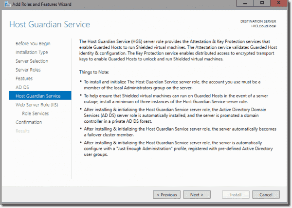 Host Guardian Service Role information