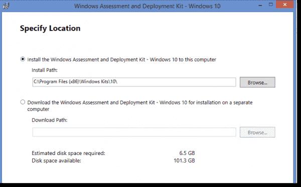 Installing Windows 10 ADK on single computer vs future deployments.
