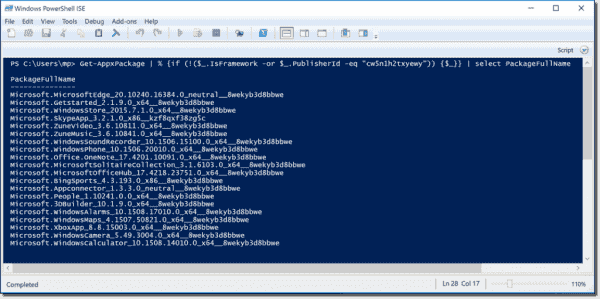 List all installed Windows apps with PowerShell