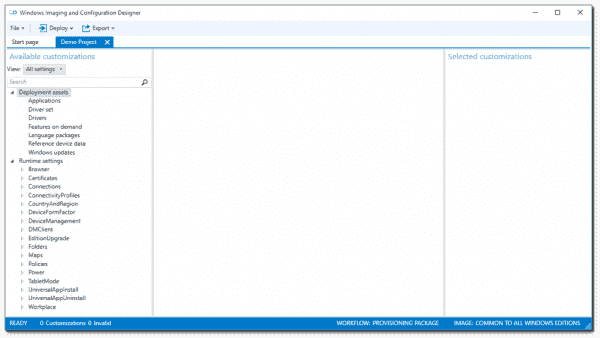 Runtime Settings in Windows Imaging and Configuration Designer
