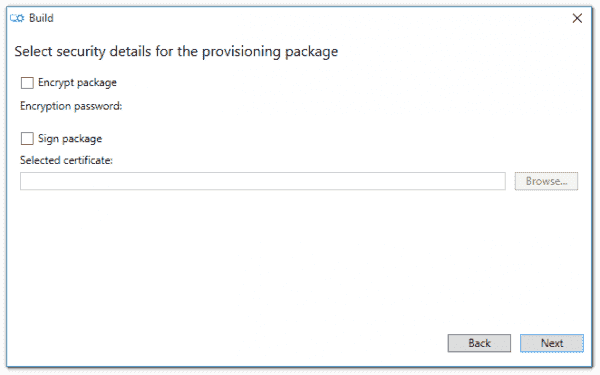 Selecting security details in Windows Imaging and Configuration Designer