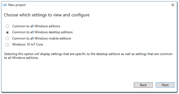 Selecting the Windows edition in Windows Imaging and Configuration Designer