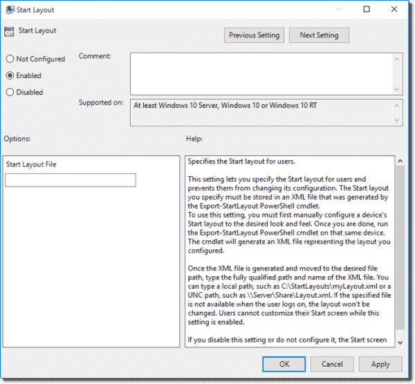 Start Layout Group Policy in Windows 10