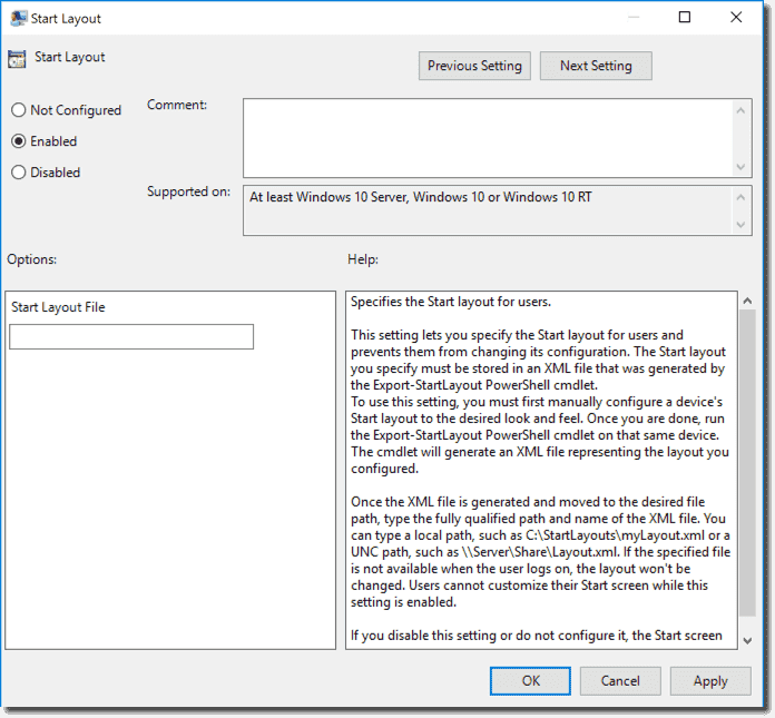 Deploy the Windows 10 Start menu layout with Group Policy – 4sysops