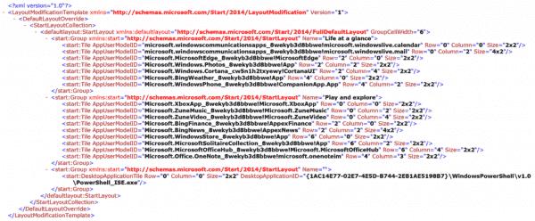Start menu configuration stored in an XML file