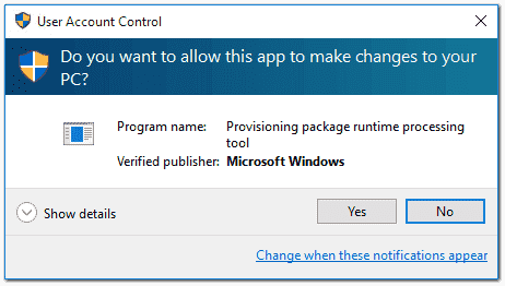 UAC prompt when installing a .ppkg file