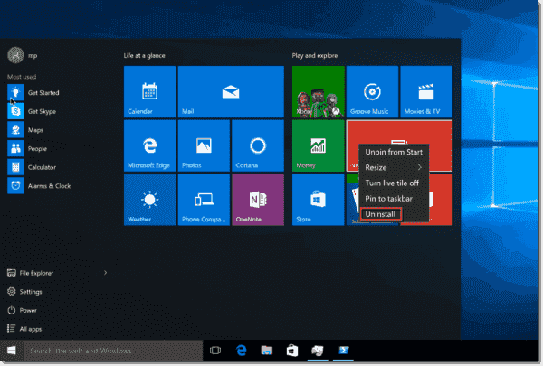 Uninstall Windows 10 app in the Start menu