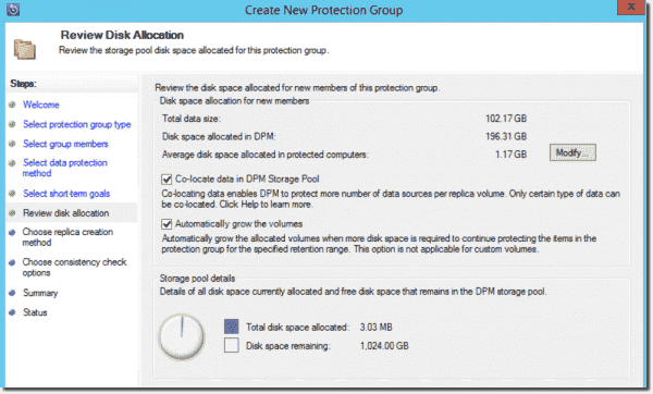 Allocating storage space to a protection group