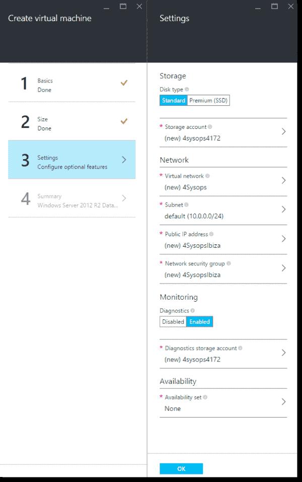 Choosing settings for your new VM