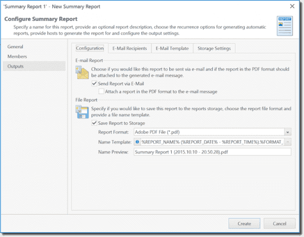 Configuring a summary report