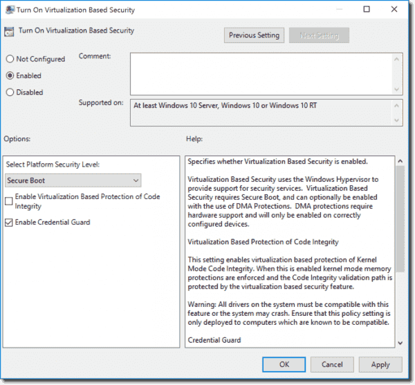 Credential Guard Group Policy