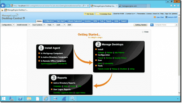 Desktop Central uses a web-based management interface