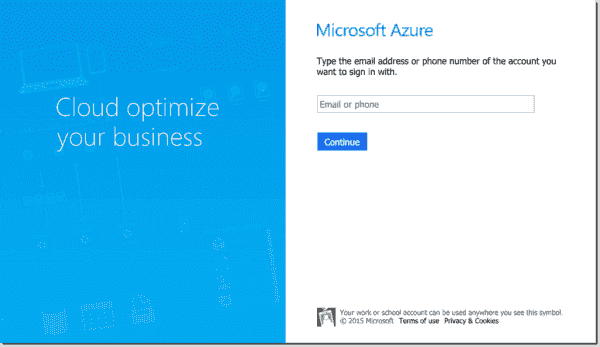 First step to sign in to Microsoft Azure