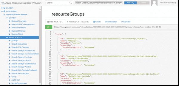 Resource view of Azure