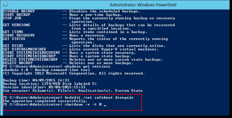 Active Directory authoritative restore with Windows Server Backup