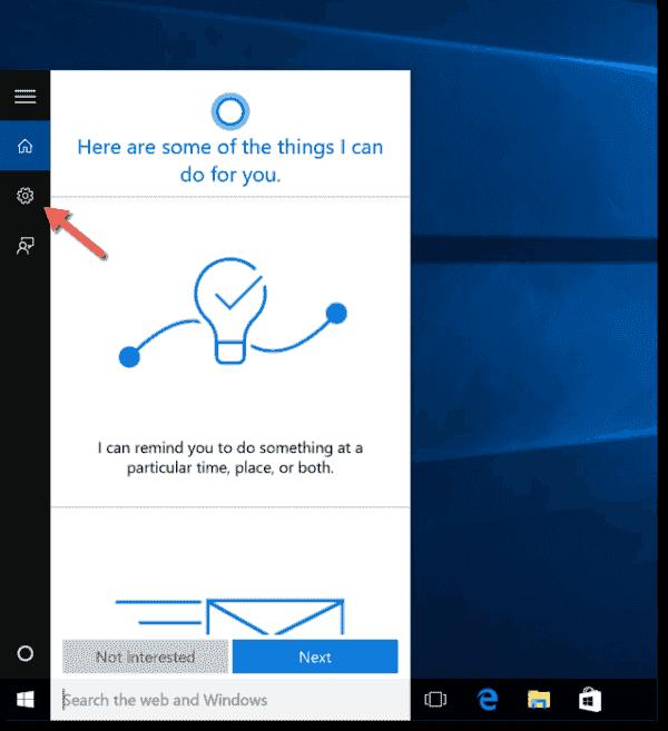 Search settings in Windows 10