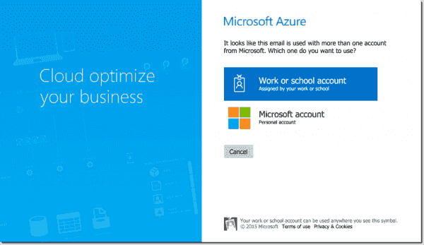Second step to sign in to Microsoft Azure