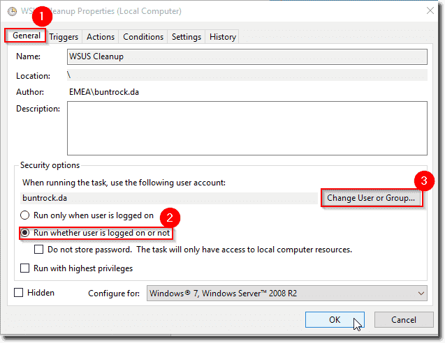 WSUS connection error after you start the Cleanup Wizard