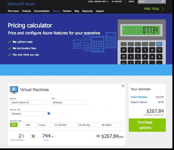 The Microsoft Azure pricing calculator