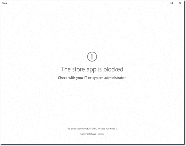 The store app is blocked