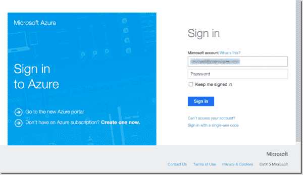 Third step to sign in to Microsoft Azure