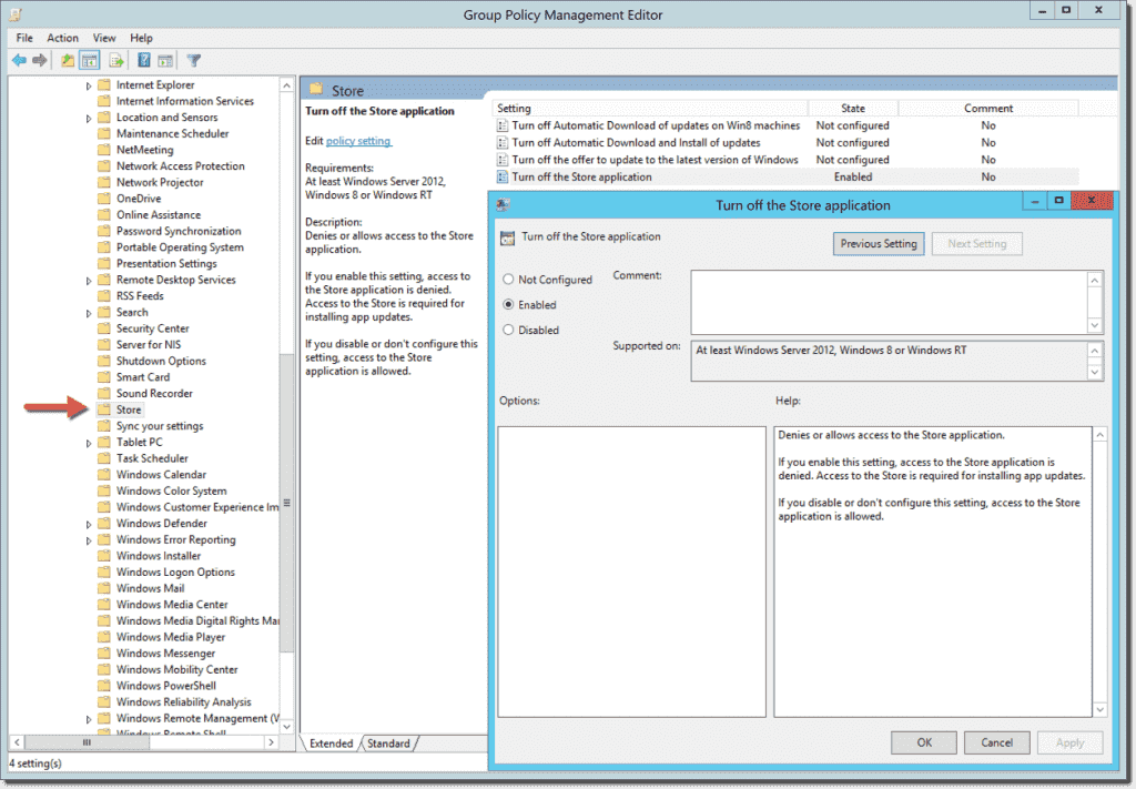 turn off the store application with group policy