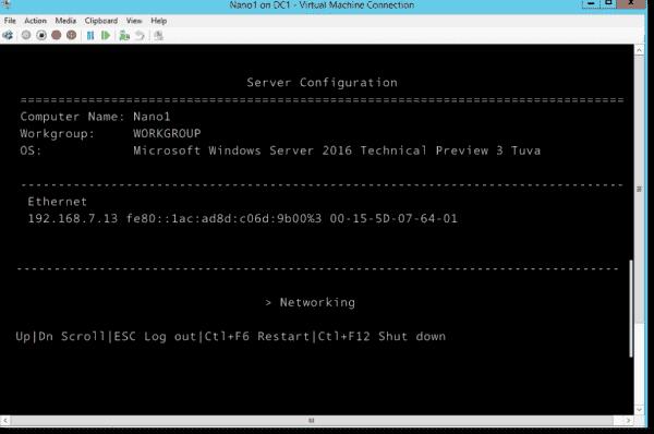 Verifying the Nano Server configuration