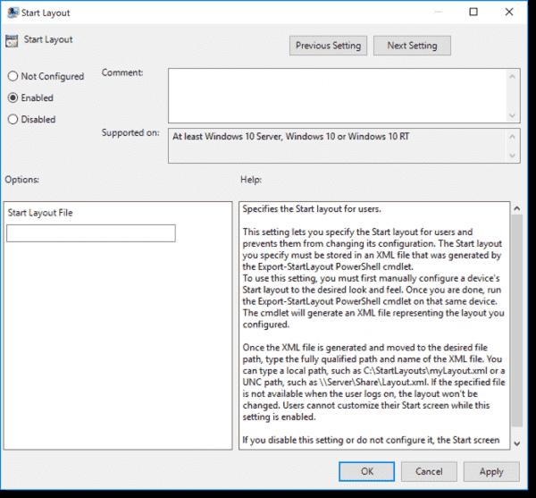 Windows 10 Start Layout