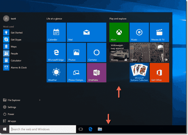 Windows 10 Start menu without Store app