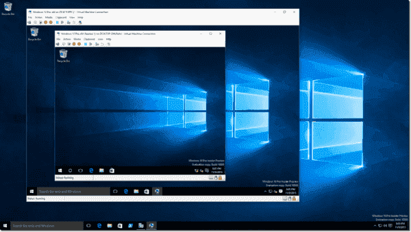 A Windows 10 VM running inside a Windows 10 VM