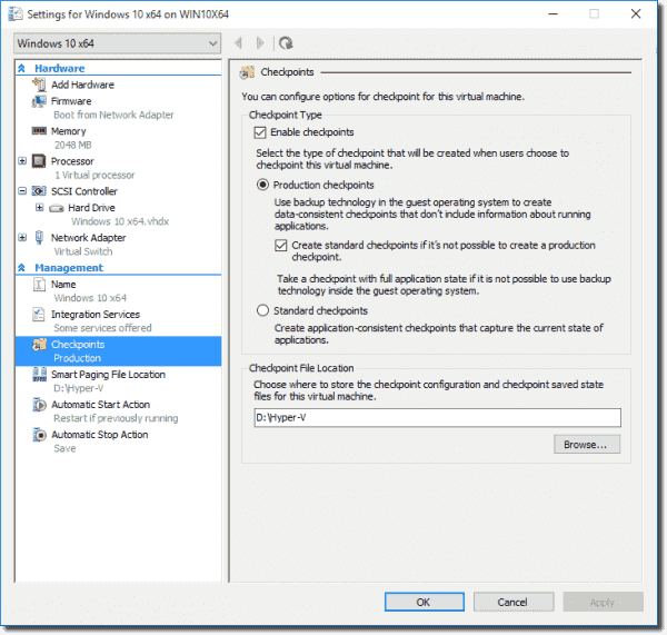 Checkpoint options in Windows 10 VM Settings