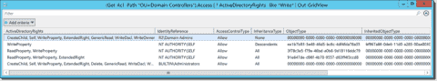 Display access rights on Active Directory OUs with PowerShell
