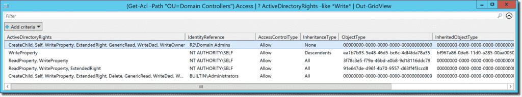 Display access rights on Active Directory OUs with