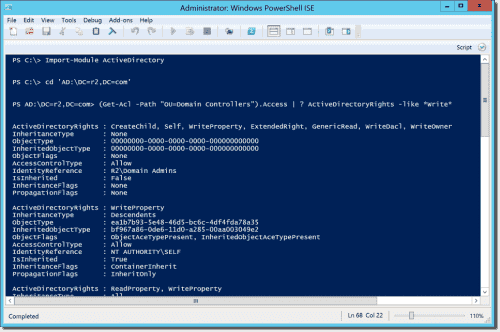 Displaying write access rights on the domain controllers OU