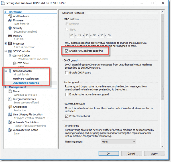 Enabling MAC address spoofing on a Windows 10 VM