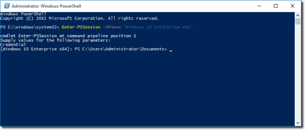 Enter a remote PowerShell session on a VM with PowerShell Direct