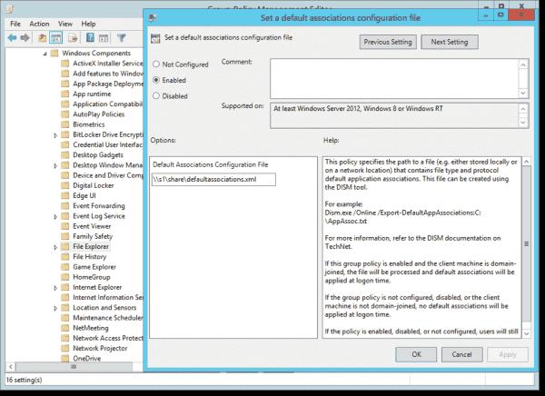 Setting a default associations configuration file