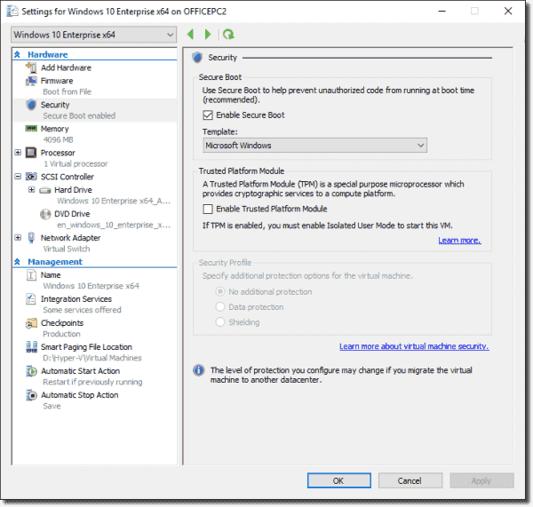 VM settings for a Windows 10 PC with a physical TPM