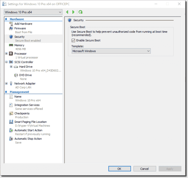 VM settings for a Windows 10 PC without a physical TPM