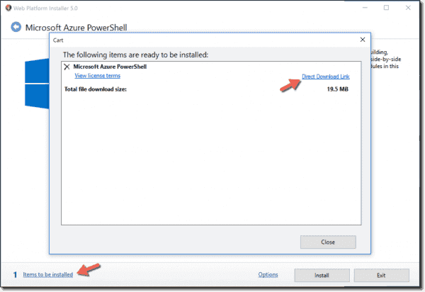 Azure PowerShell direct download link to MSI