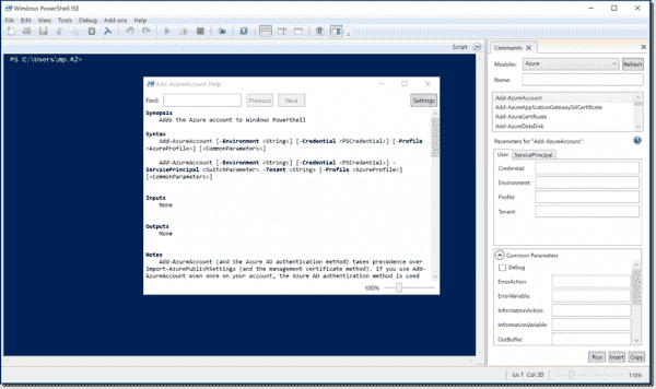 Azure cmdlets in PowerShell ISE