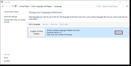 Changing language preferences