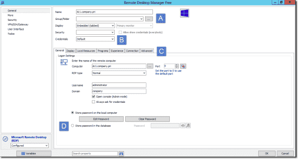 Creating a RDP connection profile in RDM 11